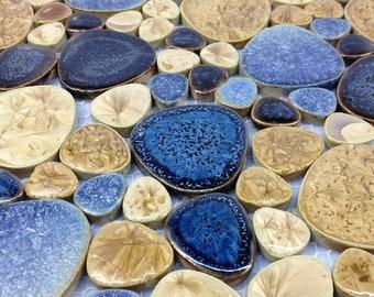 Blue Beige pebble porcelain mosaic for kitchen backsplash PPMT058 bathroom shower wall swimming pool flooring ceramic tiles