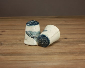 Watercolor Whale Salt and Pepper Shakers| Ocean-minded Arts| Beach Decor|
