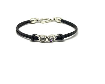 Leather Flat Double Swarovski Bracelet