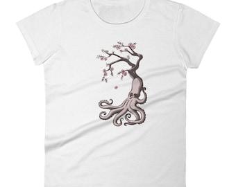 Octopus Cherry Blossom Women's short sleeve t-shirt