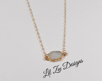 Delicate Vermeil Edged Druzy Necklace With Gold Plated Chain Mothers Day Gift Ideas