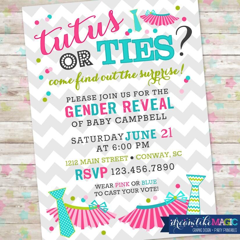 Tutus or Ties Gender Reveal Invite Gender Reveal Party Boy