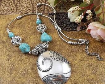 Turquoise & Tibetan Silver Pendant Necklaces