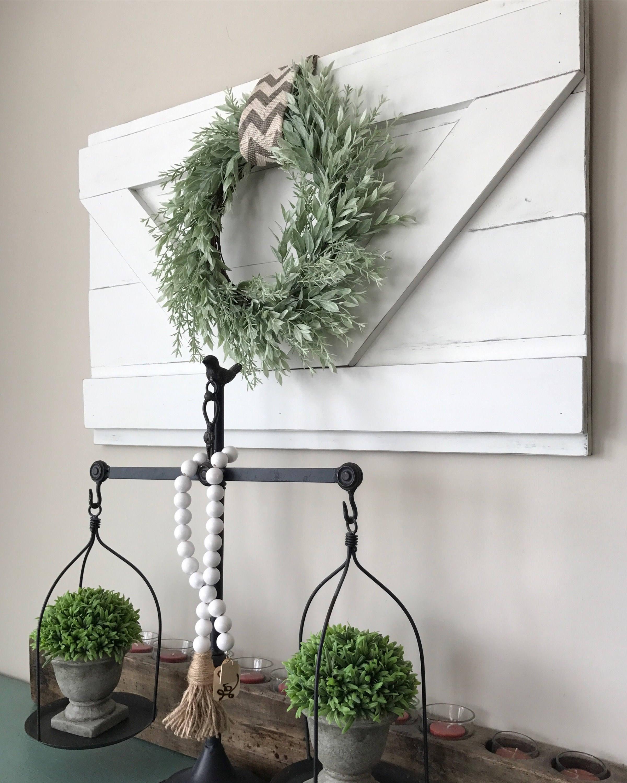 Large Decorative Flower Pots: Extra Large Decorative Wood Shutter. Rustic Wall Decor