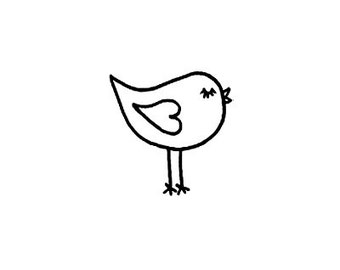 Cute little whimsical bird Rubber Stamp small