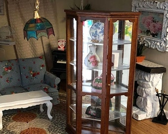 SALE Miniature Mirrored Curio Cabinet, Wood Cabinet, 4 Shelves, Dollhouse  Miniature, 1