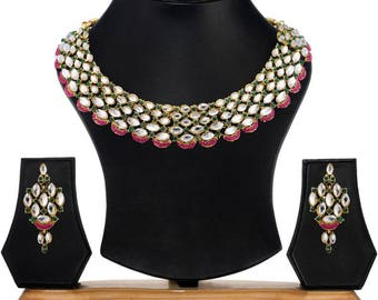 Kundan Bridal Wedding Earring Drop Jewellery Set