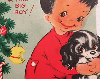 Vintage Christmas Card, Boy and His Dog, 1950s, NOS