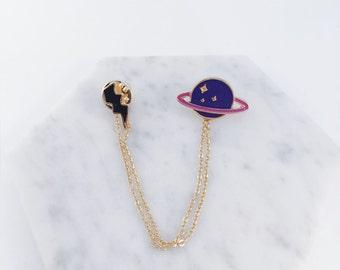 Thunder x Saturn collar pin; planet pin, thunder pin