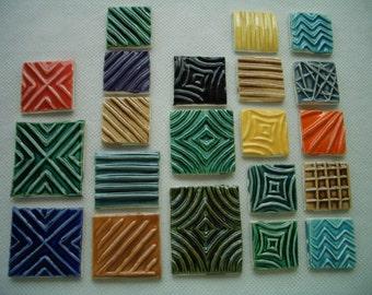 21PS - COLORFUL Stamped SQUARES - Ceramic Mosaic Tiles