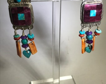 Vtg wonderful Semi precious Sterling inlaid and stamped sterling earrings