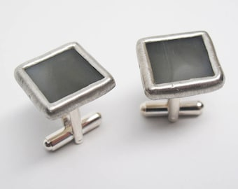 Morning Fog - Mens Stained Glass Cuff Link Set
