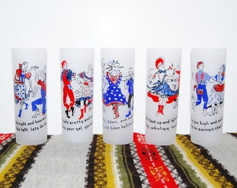 Vintage Glasses Tall Country Dancing 50's