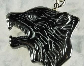 Hematite Wolf Necklace