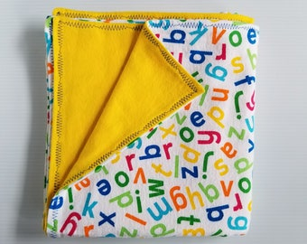 Alphabet Flannel Baby Blanket, Receiving Blanket, Flannel Blanket, Yellow Blanket, Gender Neutral Baby Blanket-Ready to Ship