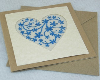 Embroidered Valentine Card - Blue Floral Design on Cream Background