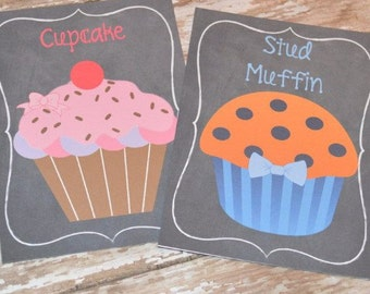 Cupcake's & Stud Muffin's Gender Reveal Decoration Signs