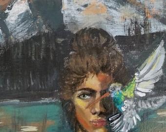 Hummingbird Girl Painting
