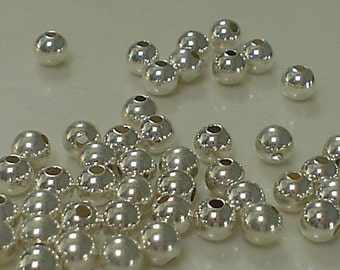 925 sterling silver round beads 5 MM/10 Piece