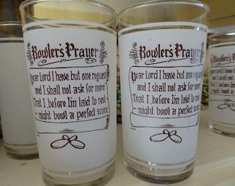 Set of 4 Vintage Libby Bowler's Prayer Frosted Glasses / Bowler's Prayer Drinking Glasses / Libby Glassware / Vintage 1950s Glassware