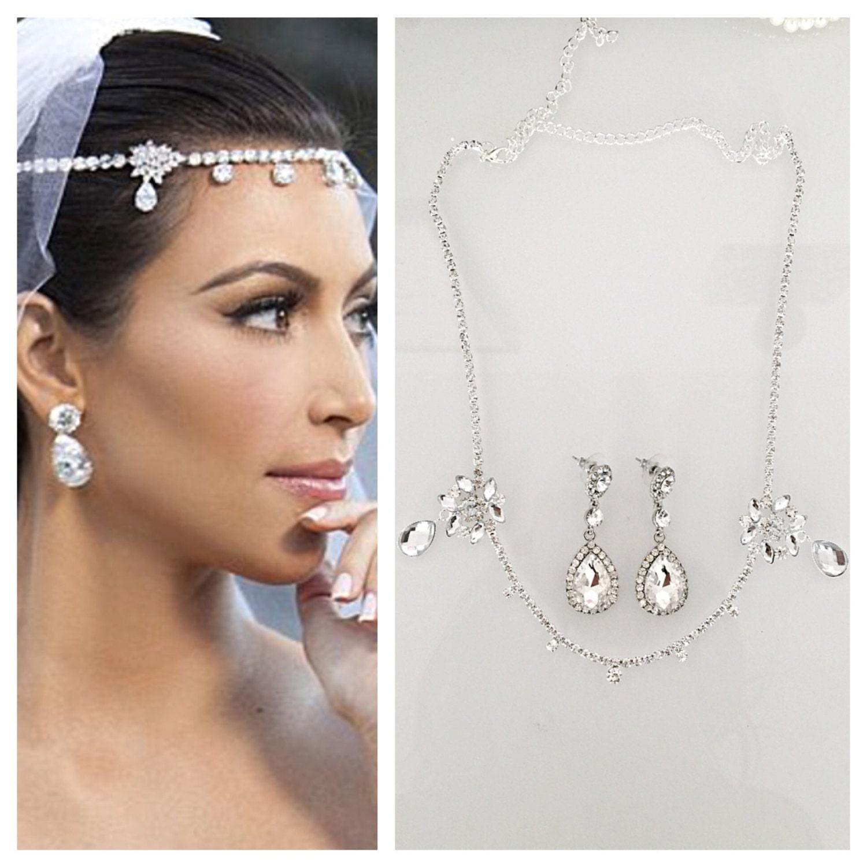 SALE Kardashian wedding headpiece earrings set tiara headband