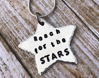 Hand Stamped Reach For the Stars Necklace