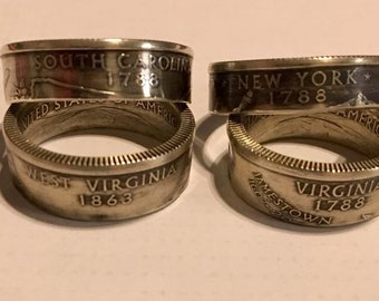 Handcrafted Uncirculated Silver Coin Rings