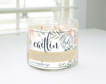 Will You Be My Bridesmaid? Custom Candle Label (Navy & Champagne with Greenery) - Bridesmaid Proposal, Maid of Honor, Matron of Honor