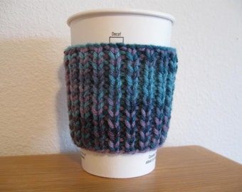 Blue Knitted To Go Cup Cozy Sleeve