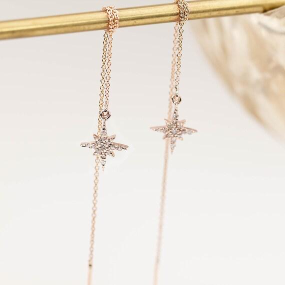 14k rose gold yellow white gold diamond cluster threader