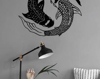 Yin yang koi fish etsy yin yang koi fish nature animals removable wall decal fish carp sticker circle mandala publicscrutiny Image collections
