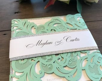 Mint green wedding etsy laser cut wedding invitation mint green wedding invitations laser cut invitations glitter invitations junglespirit Images