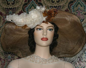 "Kentucky Derby Hat Edwardian Hat Ascot Hat Wide Brim Hat Women""s Brown Hat Ivory Hat  Copper & Ivory ONE of a KIND - Lady Penny"