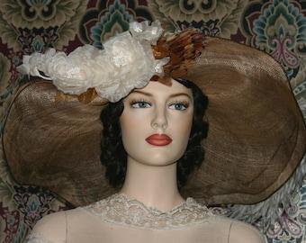 Kentucky Derby Hat, Edwardian Hat, Del Mar Hat, Ascot Hat, Wide Brim Hat, Copper & Ivory Hat, Downton Abbey Hat - Lady Penny