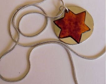 Enameled Star of David Pendant Necklace - Firey Hues Red Orange with Alpaca-Silver - Handmade Jewelry