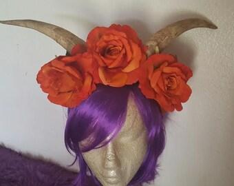 Horns, Horn headdress, Goat horns, Coachella, EDM, Flower crown, Fairy nymph, Ren Faire, MsFormaldehyde, Animal horns, Ready to ship