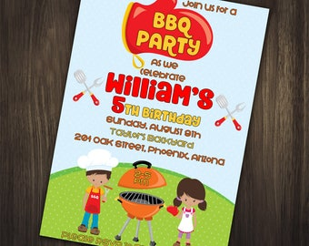 Bbq Birthday Invitation, BBQ Backyard Invitation, BBQ Party Invitation, BBQ Party, Barbeque Party, Barbeque Invitation, Birthday Invitation