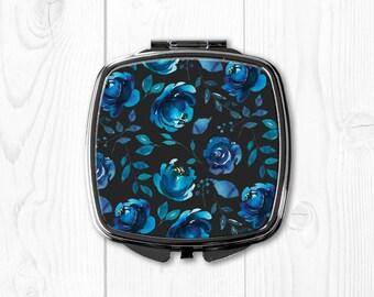 Compact Mirror for Purse Mirror Pocket Mirror Blue Grey Floral