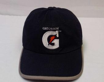 Vtg. 90's Gatorade Sports Drink G Bolt Athletes Black Adjustable Strap Back Baseball Hat Cap