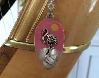Flamingo resin spoon pendant necklace