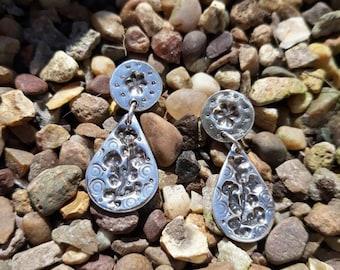 Fine Silver Botanical Dropper Earrings