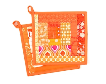 Orange Pot Holders, Kitchen Hot Pads, Cooking Gift for Mom, Quilted Potholders, Bright Kitchen Decor, Quilted Trivet, Fabric Potholders