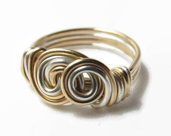 Silver and Gold Ring, Mixed Metal Ring, Size 4 5 6 7 8 9 10 11 12 13 14, Rose Gold and Silver Ring, Handmade Metal Jewelry, Wire Jewelry