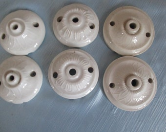 6 Ceiling light roses, French Art Nouveau, vintage, ceramic, porcelain, moulded in rose petal shape, 3 pairs available