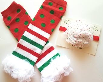Christmas Legwarmers, Baby Legwarmers, Headband Set, Baby Leg Warmers, Infant Leg Warmers, Legwarmers, Ruffle Leg Warmers
