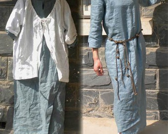 127---White Linen Jacket / Blouse