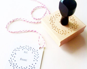 """Confetti Dots To / From Gift Tag Stamp - for Valentines, Weddings, Holidays, Birthday - 2"""" x 2"""" - Wood Mounted, Handle OR Self-Inking"""