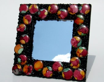Mosaic Frame with Mirror-Red and Black Mosaic Frame-small frame-standing frame-mosaic mirror-hanging frame-framed mirror-tabletop frame