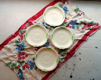 Homer Laughlin Embossed OVEN SERVE Stoneware Set of 4 Saucers- Vintage Dishes -Creamy Ivory Floral Designs & Green Rose Highlighting-USA
