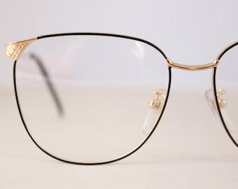 Vintage Swank Black and Gold Wire Eyeglasse Frames